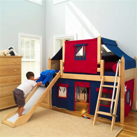 2 story play fort low loft bed w slide by maxtrix kids blue red on natural 320 2s