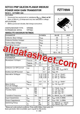 fzt789a pnp datasheet pdf zetex semiconductors