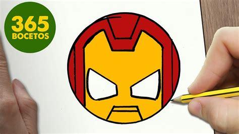 como dibujar ironman emoticonos whatsapp kawaii paso