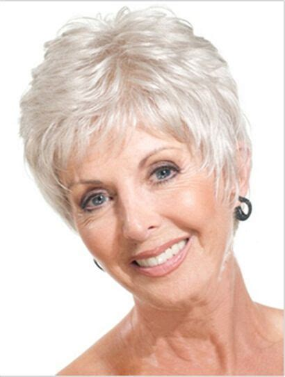 short haircuts for fine grey hair short straight mother gray hair wigs fashion heat