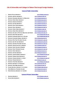 list of universities and colleges in taiwan that accept foreign stude