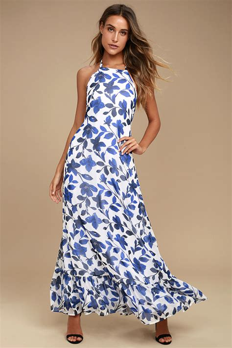 Maxi Blue Flower lovely blue and white floral print dress halter maxi