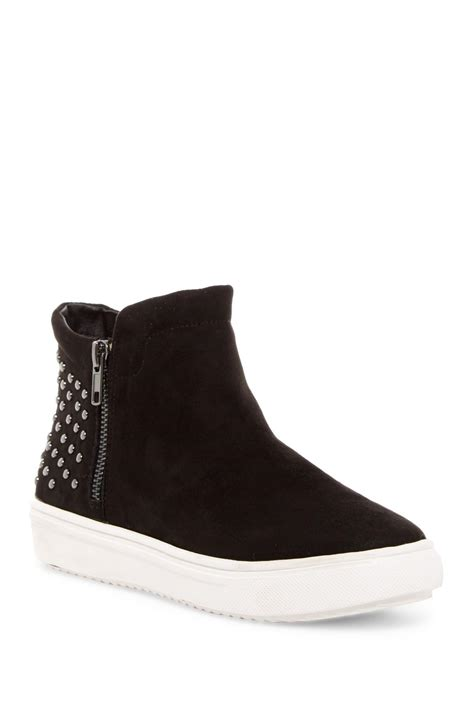 Shoe Rack For High Top Sneakers by Steven By Steve Madden Canna High Top Zip Sneaker In Black