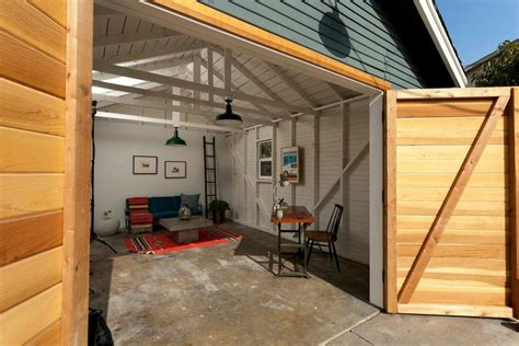 art studio garage conversion shed eclectic with barn lamp