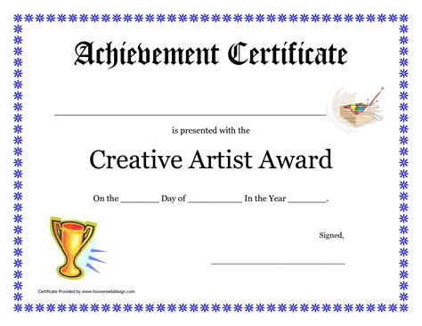 certificate design with photo creative artist award printable certificate pdf cakepins