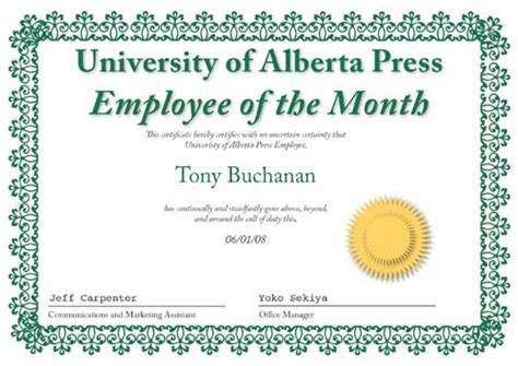 employee of the month certificate template word employee of the month there s a in the