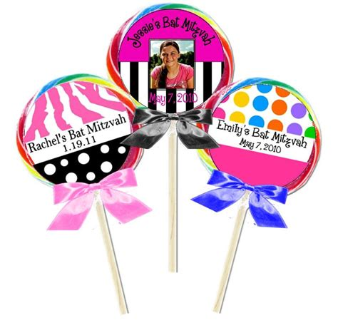Bat Mitzvah Giveaways Personalized - bat mitzvah lollipop favors personalized lollipops lollipop favors