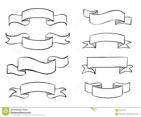 hand drawn vector tutorial hand drawn banner scribble vector vintage scroll stock