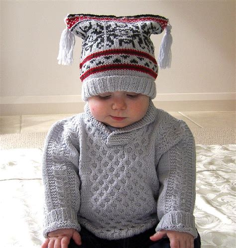 knitting pattern baby jersey baby sweater with cables shawl collar plus fair isle