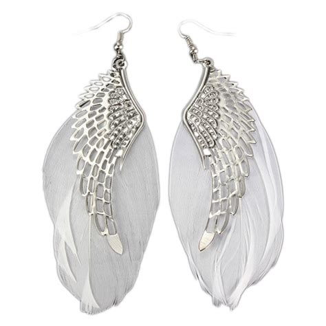 feather earring charming jewelry retro wings feather shaped simple