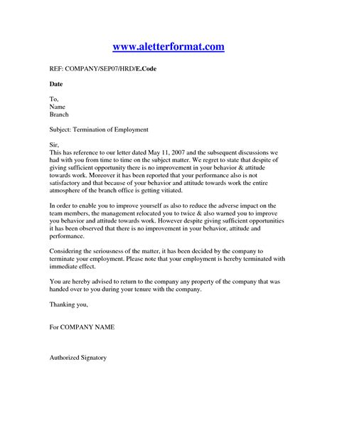 Employment Discharge Letter Termination Of Employment Letter Recruit Staff