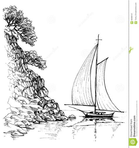 images of a boat drawing boat on water sketch stock vector illustration of