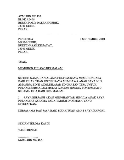 surat pulang bermalam