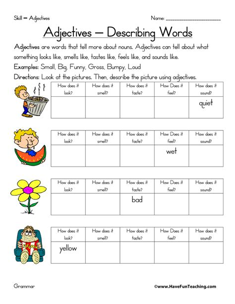 Identifying Adjectives Worksheet