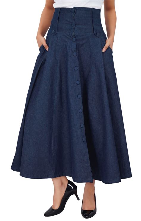 bimba s mid calf high waist denim skirt flared