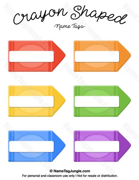 crayon label template free printable crayon shaped name tags the template can