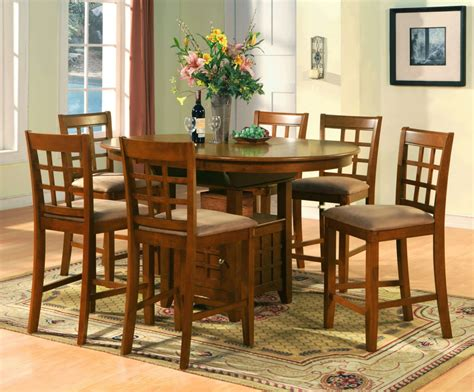 Bar Table Dining Set Oval Counter Height Dining Set 7pc Table 6 Bar Stools Ebay