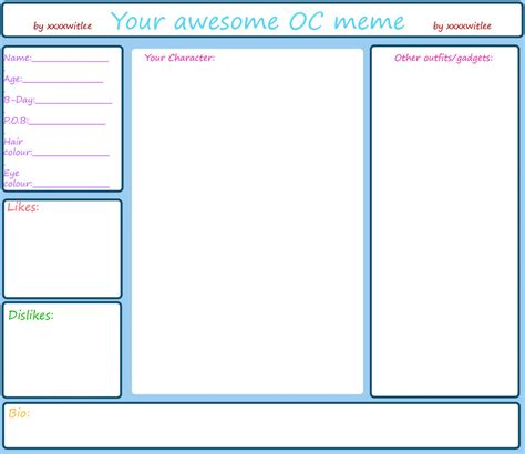 oc bio template your awesome oc meme by xxxxwitlee on deviantart