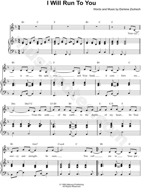 "Hillsong ""I Will Run To You"" Sheet Music in F Major"