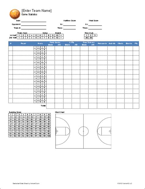 Printable Basketball Stat Sheet