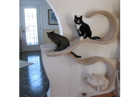 Plush Home Design Uk wall mounted cat shelf the double wave