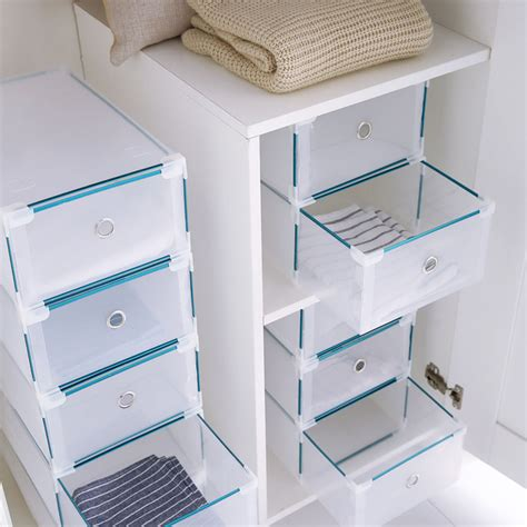 stackable storage boxes with drawers 24 x stackable clear plastic shoe box home storage boxes