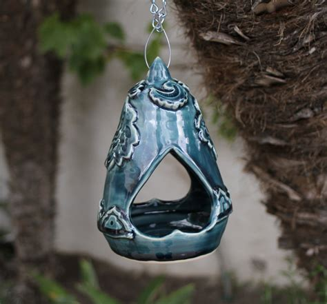 Handmade Bird Feeder - blue hanging bird feeder handmade ceramic bird feeder garden