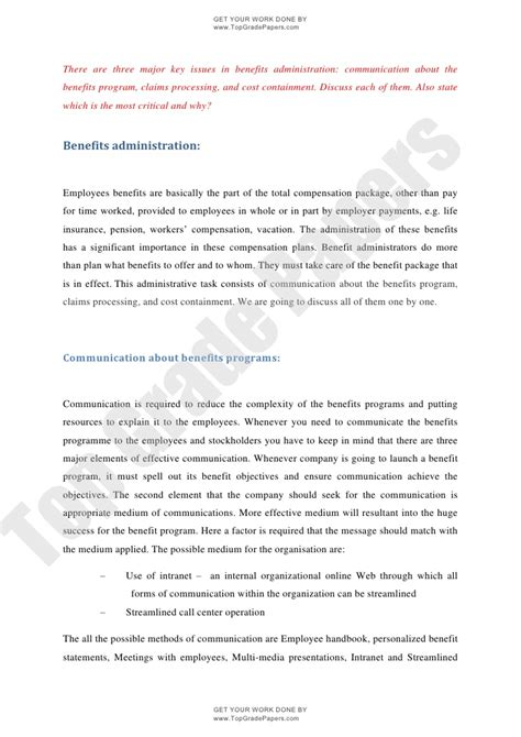 Essay About Economy by Essay Assignment Benefits Administration Issues Www Topgradepaper