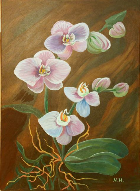 acrylic flower acrylic painting canvas orchid flowers purple pink flower