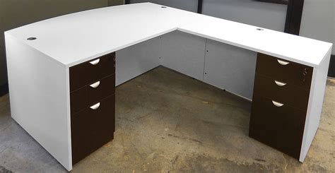 white l shaped desk with drawers white woodgrain 4 piece office furniture package
