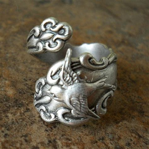 Cincin Tunangan Original Exclusive Ring bird spoon ring the original silver spoon ring with swooping sparrow exclusive design only
