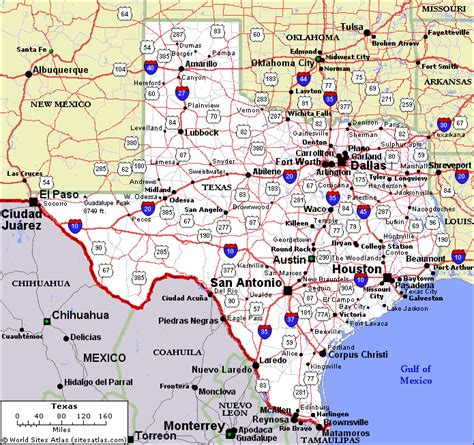 state of texas map with cities texas state map