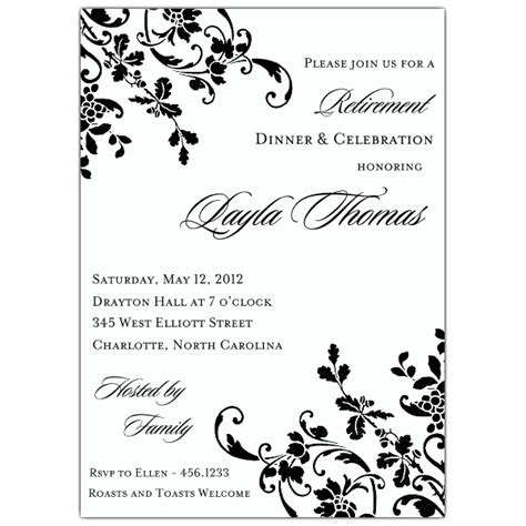 floral stripe retirement invitations paperstyle
