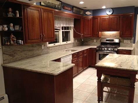 granite with cherry cabinets in kitchens soothing agent river white granite countertops