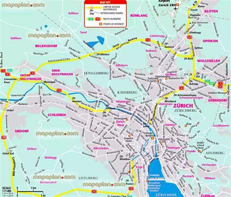 printable tourist map zurich zurich map greater zurich metropolitan area free to