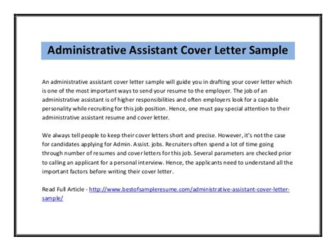 How To Write A Cover Letter Administrative Assistant