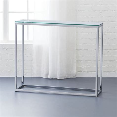 glass top console table smart glass top console table polished chrome front
