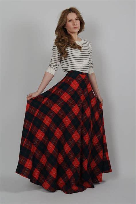 Tartan Maxi Dress Cleo vintage 70s plaid wool high waisted ultra maxi skirt xs tartan dress fashion