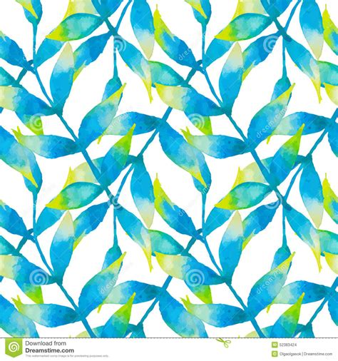 watercolor tropical pattern watercolor seamless pattern with tropical leaves stock