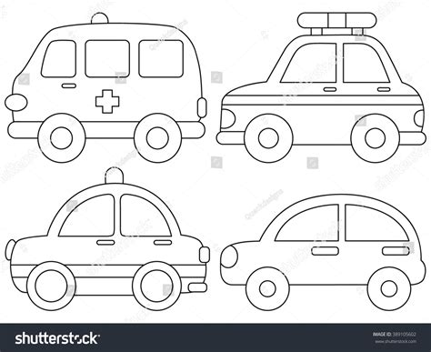 cute car coloring pages set cute car coloring page illustration stock vector