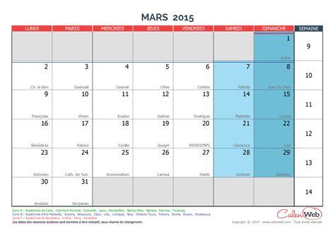 Calendrier 3 Mars 2015 Calendrier Mensuel Mois De Mars 2015 Avec F 234 Tes Jours