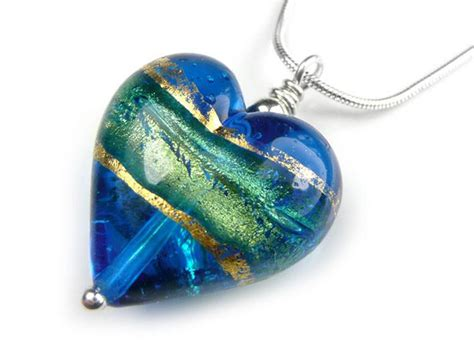 turquoise blue glass ls murano glass heart pendant turquoise blue
