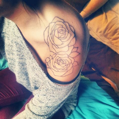 roses outline tattoo 65 trendy roses shoulder tattoos