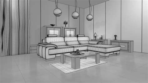 living room  modern interior design cgtrader