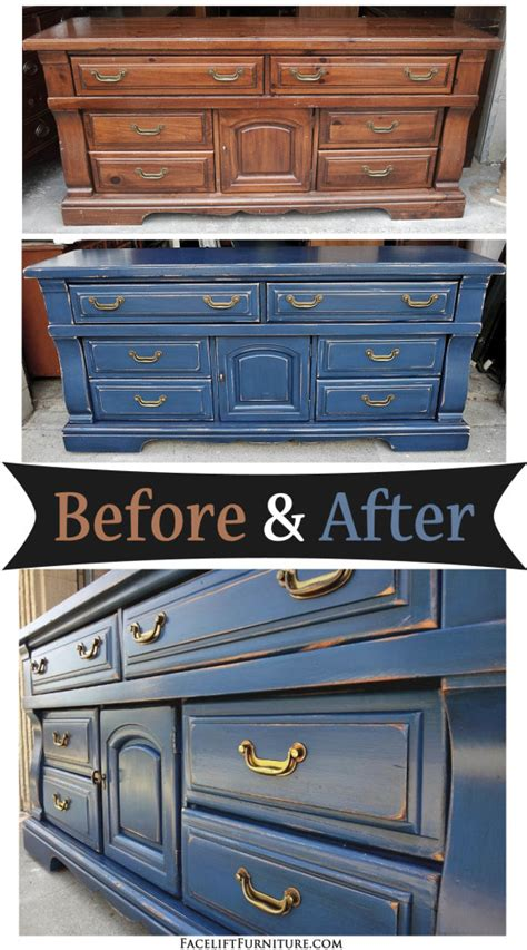 painted wood furniture and cabinets before and after ideas distressed denim blue dresser before after facelift
