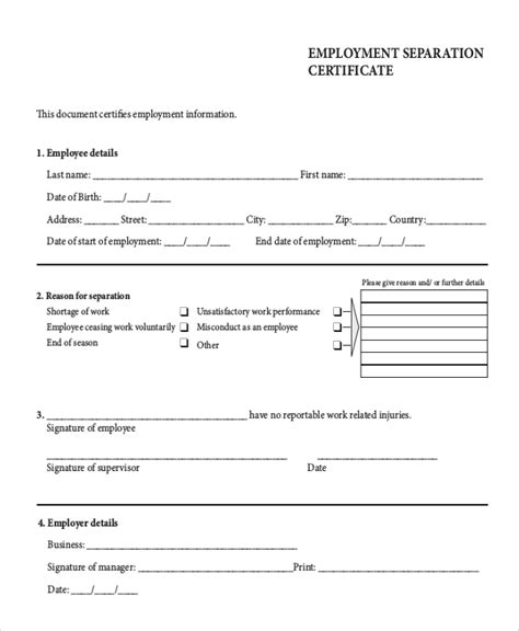 employment separation certificate template employment separation certificate template australia