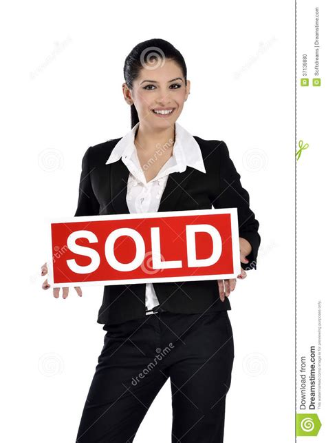 sold one womans true real estate woman holding a sold sign stock photo image 37139880