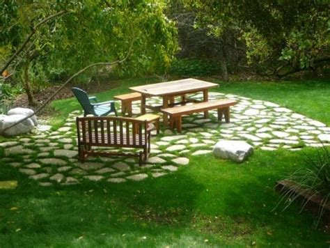 flagstone and grass patio patio pinterest