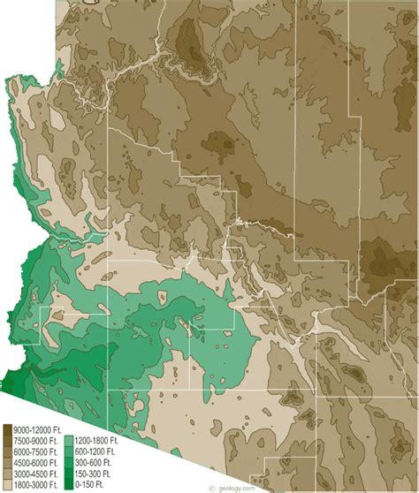 arizona elevation map arizona physical map and arizona topographic map