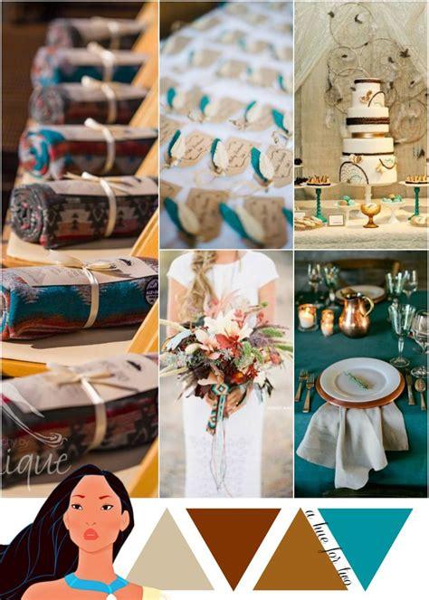 copper gold and teal metallic wedding color scheme pocahontas theme wedding disney weddings